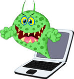Cartoon Virus on laptop Royalty Free Stock Photo