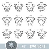 Cartoon visual dictionary for children. The human emotions. Set of girl faces with different expressions royalty free illustration
