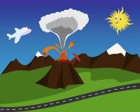 Cartoon volcano eruption. Cartoon eruptive volcano with scared Sun and airplain Royalty Free Stock Photo