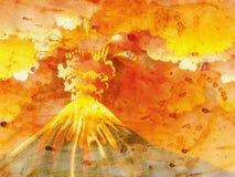 Cartoon Volcano Eruption Grunge Royalty Free Stock Photography
