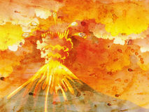 Cartoon Volcano Eruption Grunge Royalty Free Stock Photography