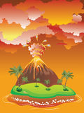 Cartoon Volcano Eruption Stock Image
