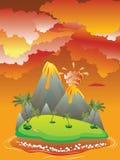 Cartoon Volcano Eruption Royalty Free Stock Image