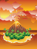 Cartoon Volcano Eruption Stock Images