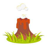 Cartoon volcano eruption vector illustration. Royalty Free Stock Images