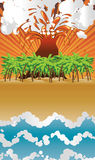 Cartoon volcano island Stock Images