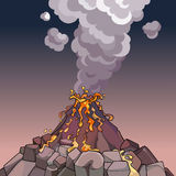 Cartoon volcano spewing lava and smoke Royalty Free Stock Image