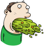 Cartoon Vomit. A cartoon man vomits a large amount royalty free illustration