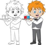 Cartoon waiter. Both in separate layers for easy editing and coloring. Cartoon waiter boy. Both in separate layers for easy editing and coloring vector illustration