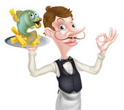 Cartoon Waiter Butler Fish and Chips Stock Images
