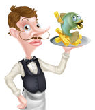 Cartoon Waiter Butler Holding Fish and Chips Royalty Free Stock Photography