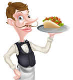 Cartoon Waiter Butler Royalty Free Stock Photography