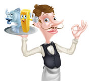 Cartoon Waiter Fish and Chip Mascots Stock Photos