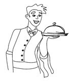 Cartoon Waiter - funny doodle illustration Stock Images