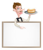 Cartoon Waiter Hotdog Sign Royalty Free Stock Photos