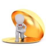 Cartoon Waiter Kneeling in Gold Serving Platter Royalty Free Stock Photos
