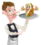 Cartoon Waiter Pointing and Kebab Royalty Free Stock Image