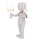 Cartoon Waiter in Red Bow Tie Holding Candelabras Stock Photo