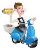 Cartoon Waiter on Scooter Moped Delivering Hotdog Royalty Free Stock Images