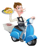 Cartoon Waiter on Scooter Moped Delivering Kebab Stock Image