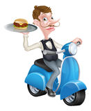 Cartoon Waiter on Scooter Moped Holding Burger. An Illustration of a Cartoon Waiter on Scooter Moped Holding Burger Royalty Free Stock Image