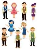 Cartoon waiter and waitress icon Royalty Free Stock Images