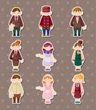 Cartoon waiter and waitress stickers Royalty Free Stock Photo