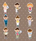 Cartoon waiter and waitress stickers Stock Images