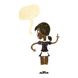 Cartoon waitress calling order with speech bubble Stock Images