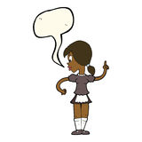Cartoon waitress calling order with speech bubble Royalty Free Stock Photo