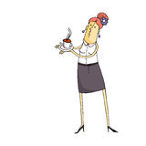 Cartoon waitress with Cup of coffee Royalty Free Stock Photos