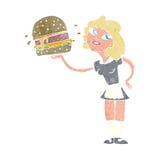 Cartoon waitress serving burger Stock Photography