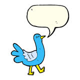 Cartoon walking bird with speech bubble Royalty Free Stock Images