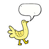 Cartoon walking bird with speech bubble Stock Images