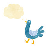 Cartoon walking bird with thought bubble Stock Images