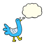Cartoon walking bird with thought bubble Stock Photography