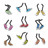 Cartoon walking feet. Step and sole, sneaker clothing, leg fashion, cute and comic, vector illustration Stock Photos