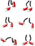 Cartoon walking feet on stick legs in various positions