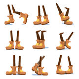 Cartoon walking, running, standing characters legs with feet in shoes vector set. Comical foot in shoes, illustration of cartoon foot in boots Stock Images