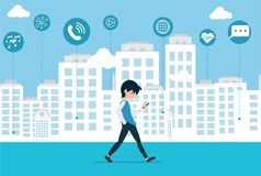 Cartoon are Walking in the Smart City Technology royalty free illustration