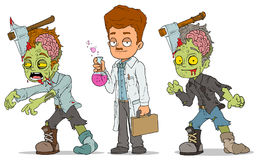 Cartoon walking zombie scientist characters set Stock Images