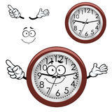 Cartoon wall clock with brown rim Royalty Free Stock Photo