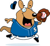 Cartoon Wallaby Baseball. A cartoon illustration of a wallaby playing baseball Stock Photo