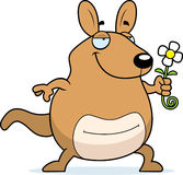Cartoon Wallaby Flower. A cartoon wallaby with a flower Stock Images
