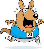 Cartoon Wallaby Running Race. A happy cartoon wallaby running in a race Stock Photo
