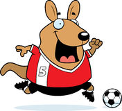 Cartoon Wallaby Soccer. A cartoon illustration of a wallaby playing soccer Royalty Free Stock Photo