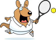 Cartoon Wallaby Tennis. A cartoon illustration of a wallaby playing tennis Stock Photography
