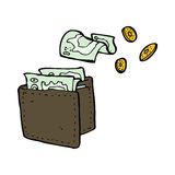 cartoon wallet spilling money Royalty Free Stock Photo