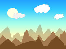 Cartoon wallpaper. Cartoon landscape with mountains, blue sky and clouds Royalty Free Stock Photos