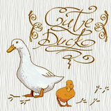 Cartoon Wallpaper with duck. This is file of EPS8 format Stock Photo